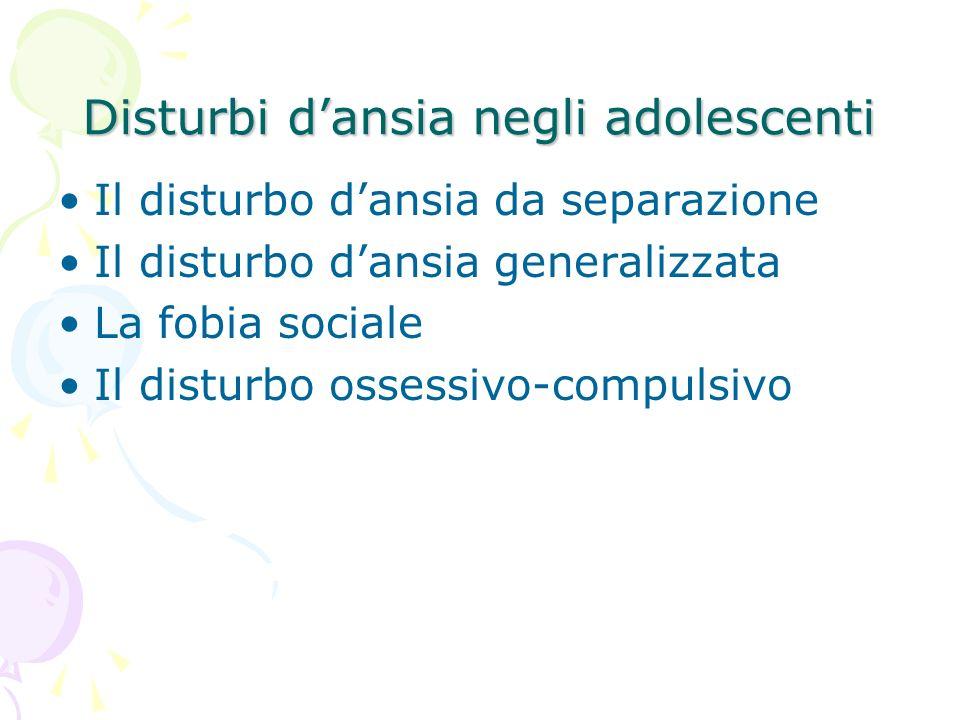 Disturbi d'ansia negli adolescenti