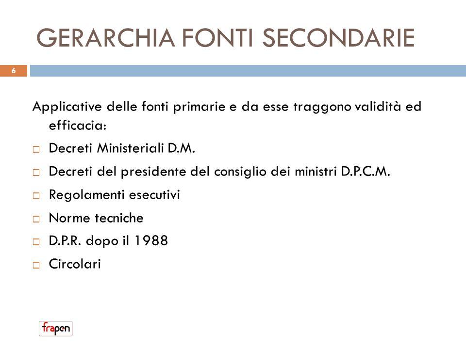 GERARCHIA FONTI SECONDARIE