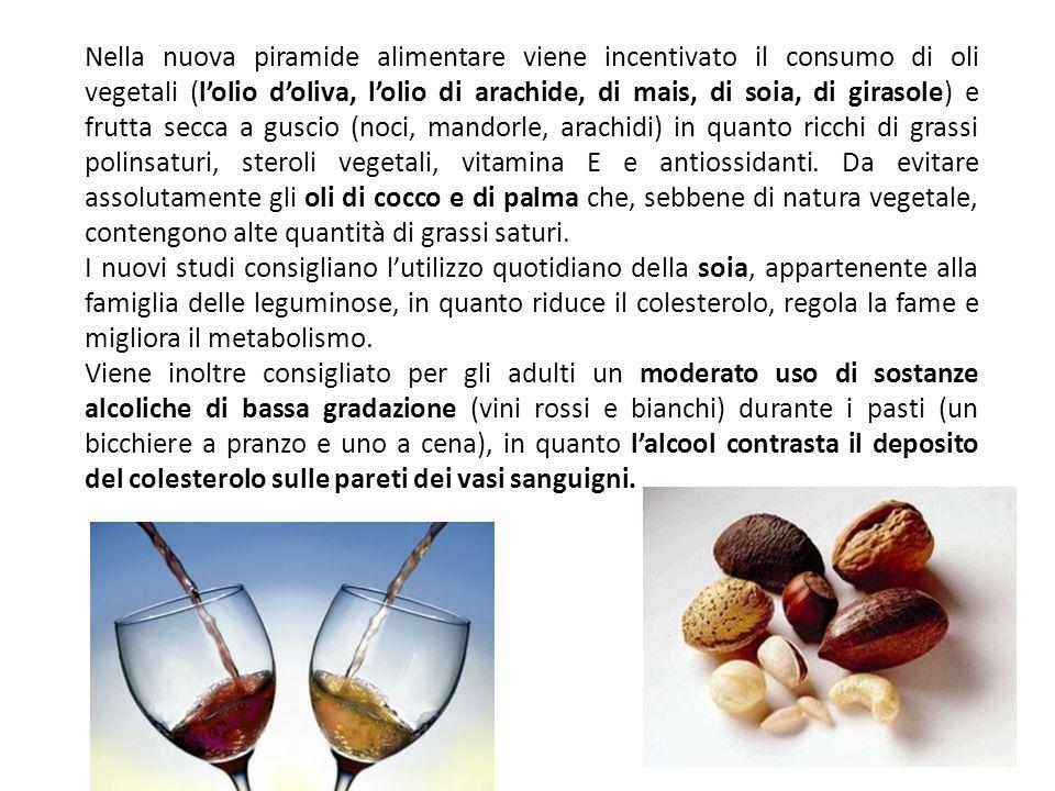 Nella nuova piramide alimentare viene incentivato il consumo di oli vegetali (l'olio d'oliva, l'olio di arachide, di mais, di soia, di girasole) e frutta secca a guscio (noci, mandorle, arachidi) in quanto ricchi di grassi polinsaturi, steroli vegetali, vitamina E e antiossidanti. Da evitare assolutamente gli oli di cocco e di palma che, sebbene di natura vegetale, contengono alte quantità di grassi saturi.