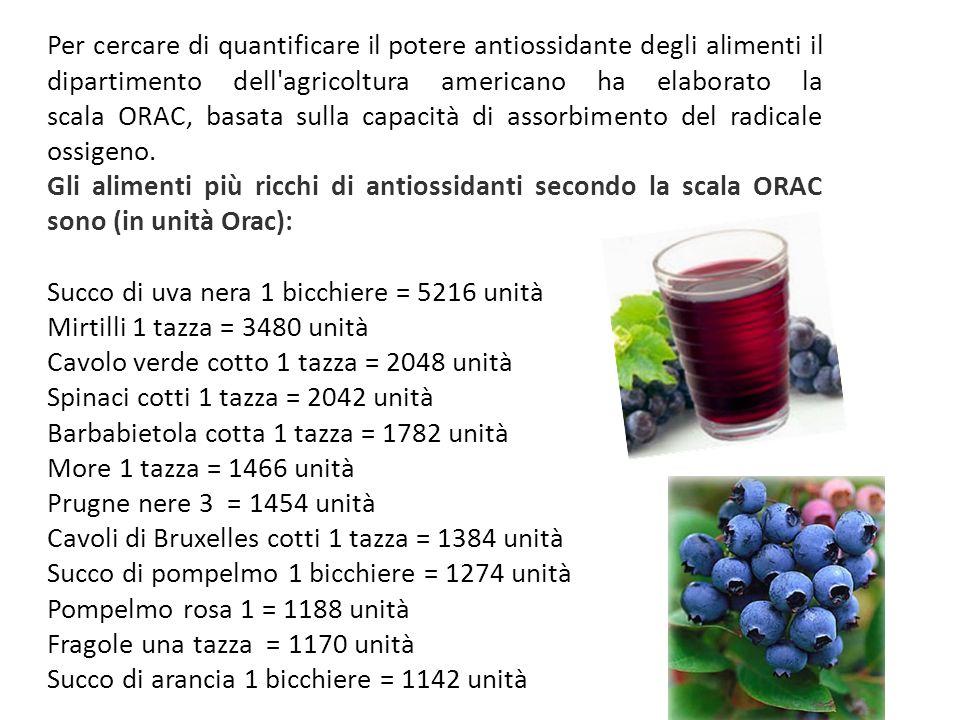 Per cercare di quantificare il potere antiossidante degli alimenti il dipartimento dell agricoltura americano ha elaborato la scala ORAC, basata sulla capacità di assorbimento del radicale ossigeno.