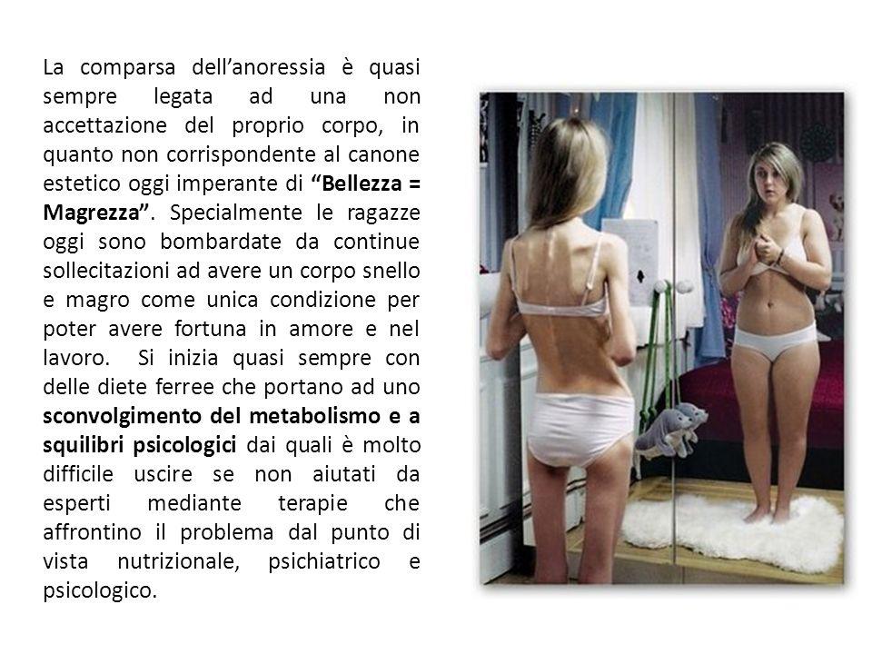 La comparsa dell'anoressia è quasi sempre legata ad una non accettazione del proprio corpo, in quanto non corrispondente al canone estetico oggi imperante di Bellezza = Magrezza .