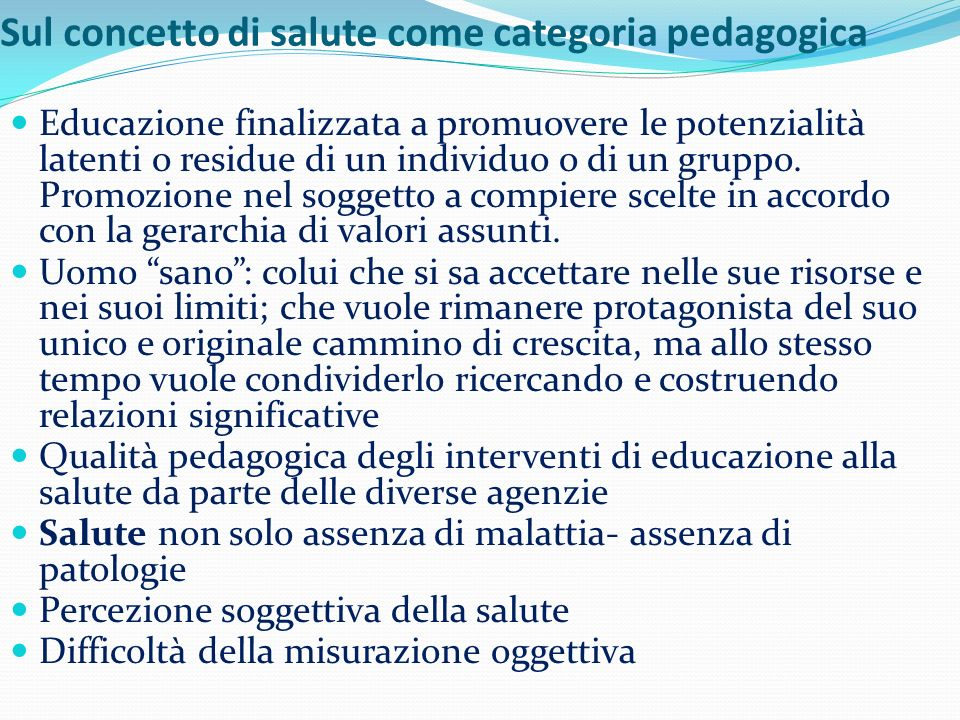 Sul concetto di salute come categoria pedagogica