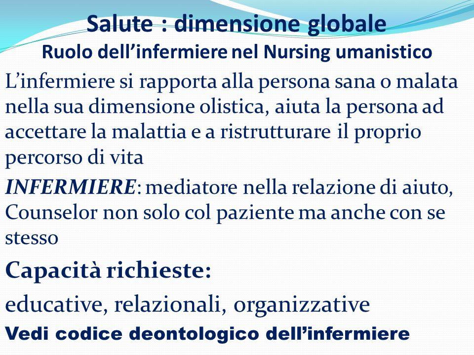 Salute : dimensione globale Ruolo dell'infermiere nel Nursing umanistico