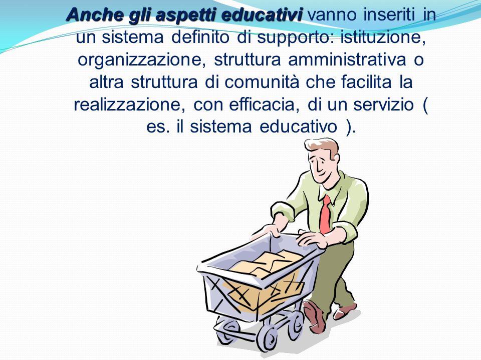 Anche gli aspetti educativi vanno inseriti in un sistema definito di supporto: istituzione, organizzazione, struttura amministrativa o altra struttura di comunità che facilita la realizzazione, con efficacia, di un servizio ( es.