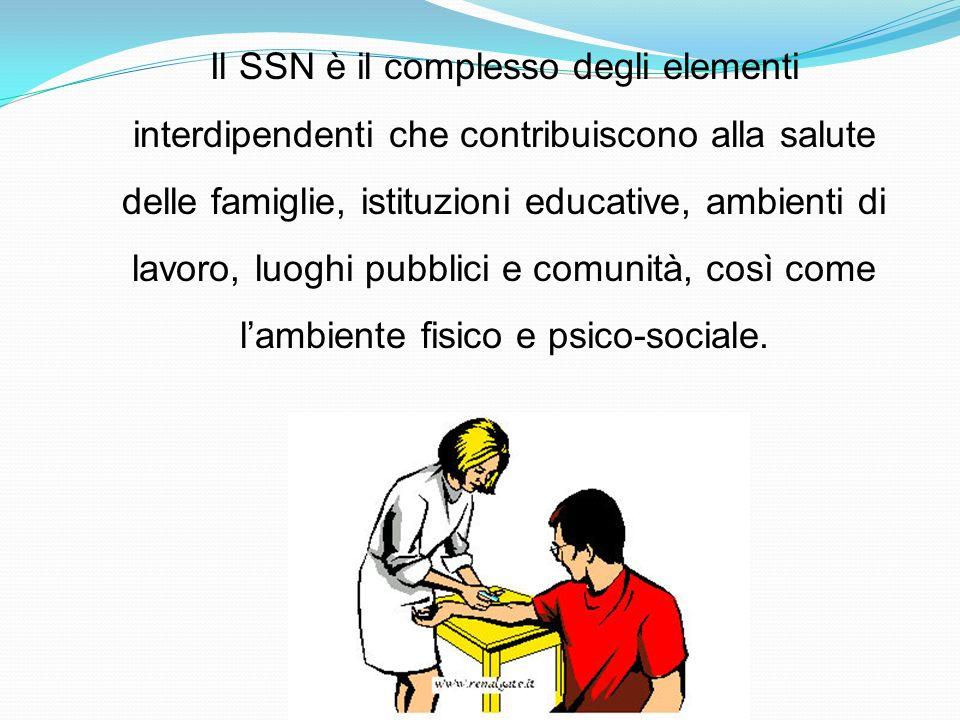Il SSN è il complesso degli elementi interdipendenti che contribuiscono alla salute delle famiglie, istituzioni educative, ambienti di lavoro, luoghi pubblici e comunità, così come l'ambiente fisico e psico-sociale.