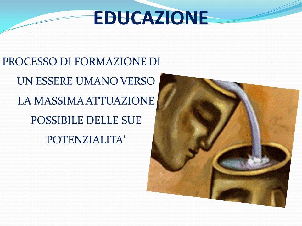 EDUCAZIONE PROCESSO DI FORMAZIONE DI UN ESSERE UMANO VERSO LA MASSIMA ATTUAZIONE POSSIBILE DELLE SUE POTENZIALITA