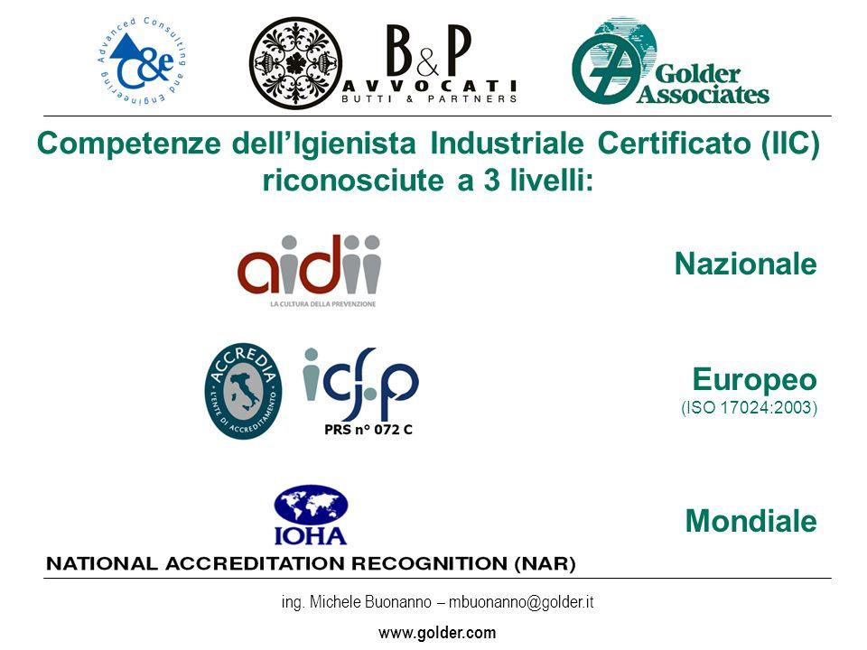 ss Competenze dell'Igienista Industriale Certificato (IIC) riconosciute a 3 livelli: Nazionale. Europeo.