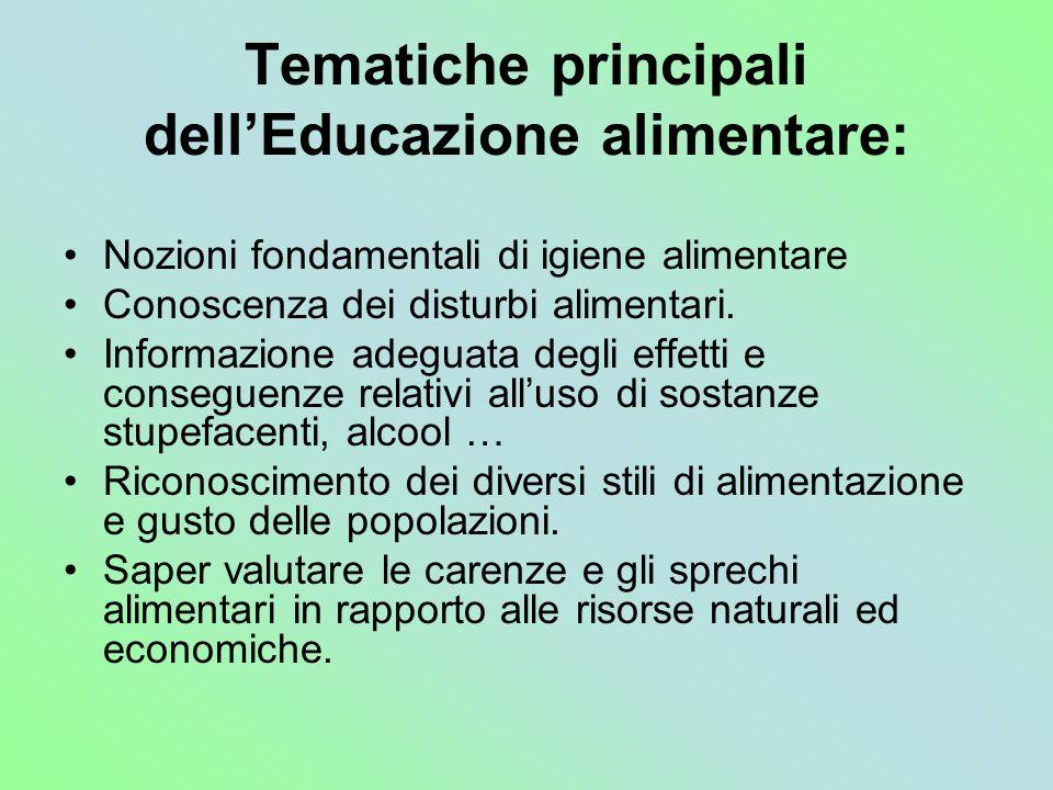 Tematiche principali dell'Educazione alimentare: