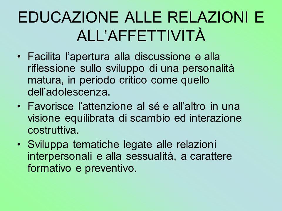 EDUCAZIONE ALLE RELAZIONI E ALL'AFFETTIVITÀ