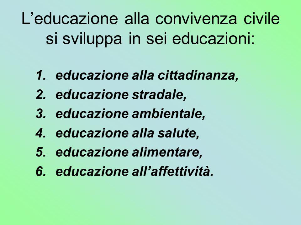 L'educazione alla convivenza civile si sviluppa in sei educazioni: