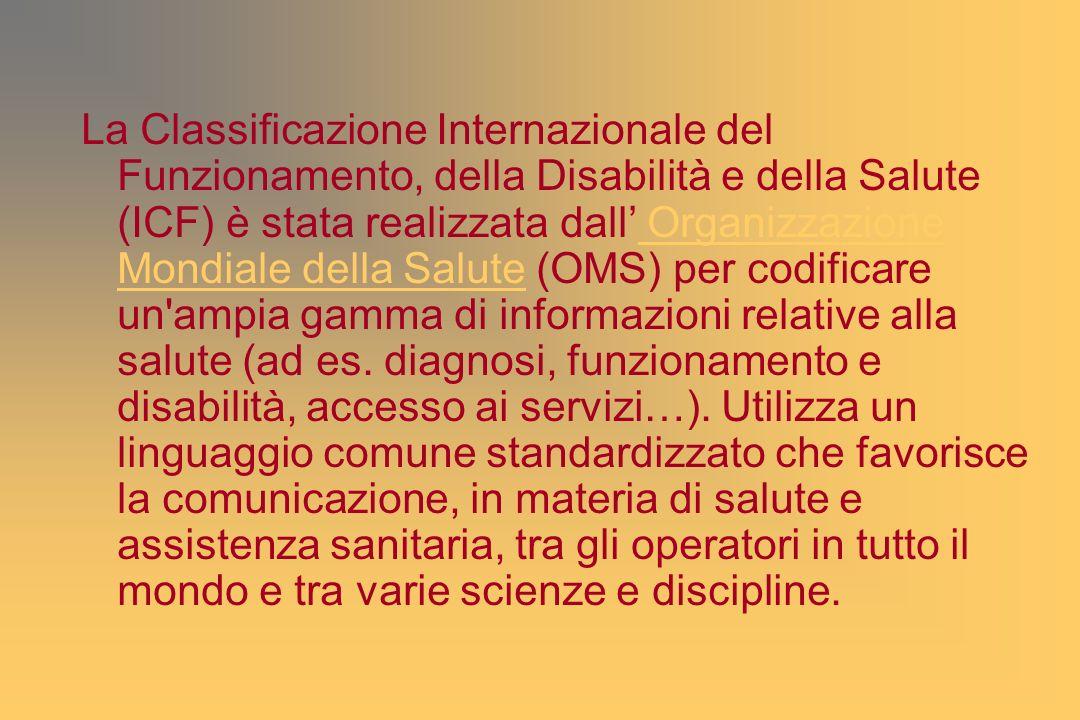 La Classificazione Internazionale del Funzionamento, della Disabilità e della Salute (ICF) è stata realizzata dall' Organizzazione Mondiale della Salute (OMS) per codificare un ampia gamma di informazioni relative alla salute (ad es.