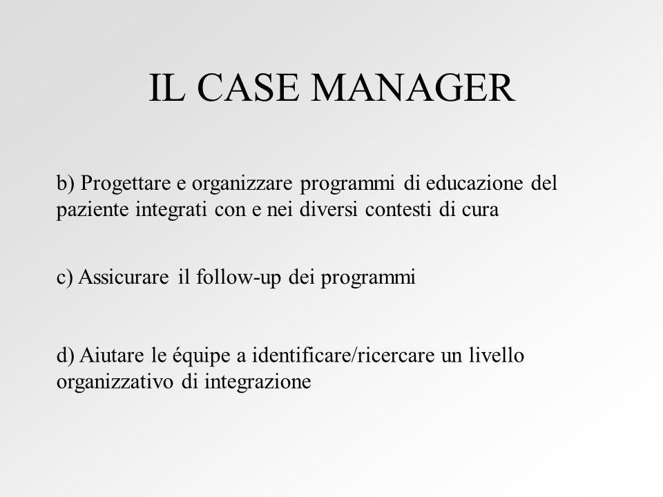 IL CASE MANAGER b) Progettare e organizzare programmi di educazione del paziente integrati con e nei diversi contesti di cura.