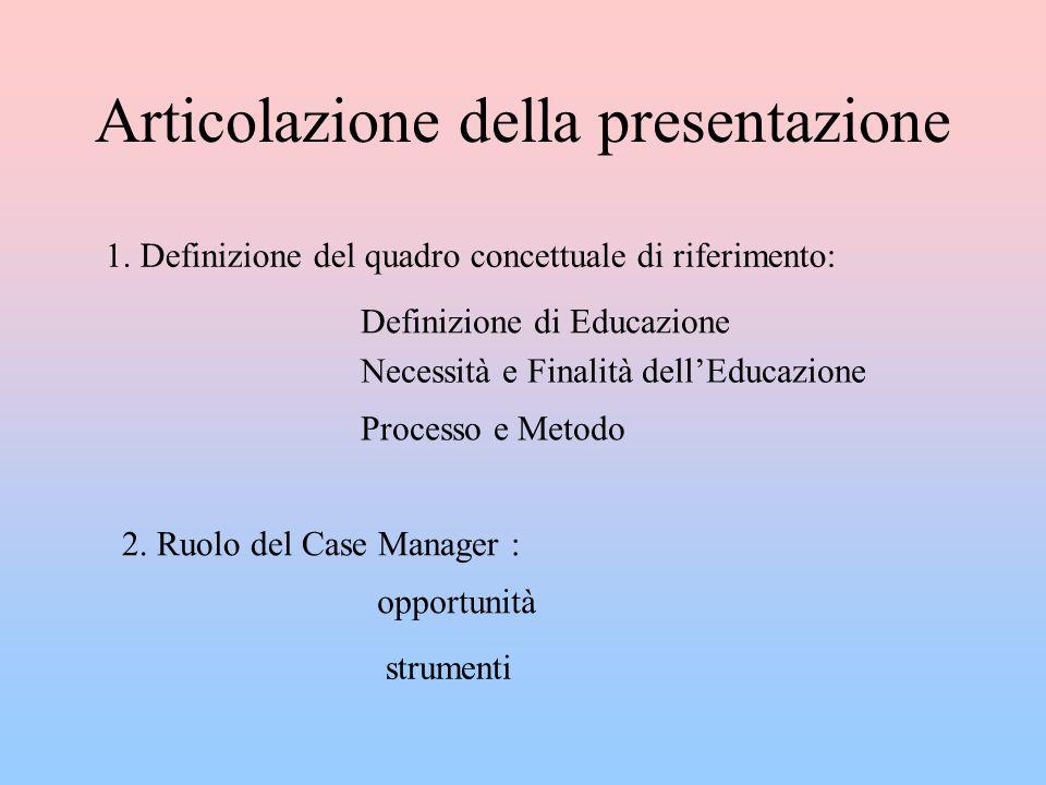 Articolazione della presentazione