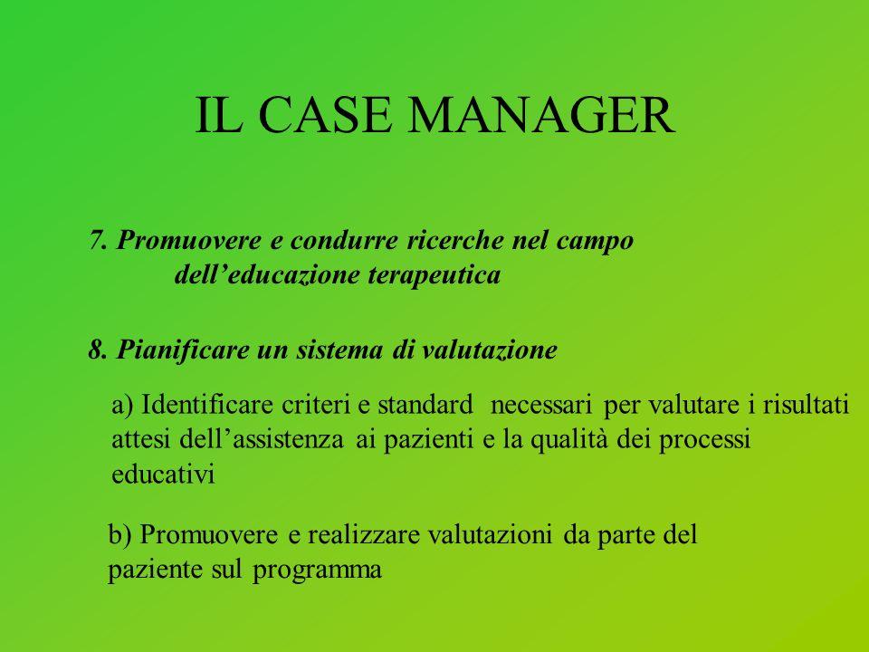 IL CASE MANAGER 7. Promuovere e condurre ricerche nel campo dell'educazione terapeutica. 8. Pianificare un sistema di valutazione.