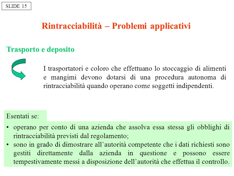 Rintracciabilità – Problemi applicativi
