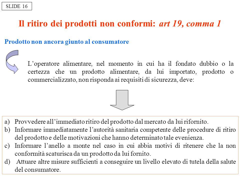 Il ritiro dei prodotti non conformi: art 19, comma 1