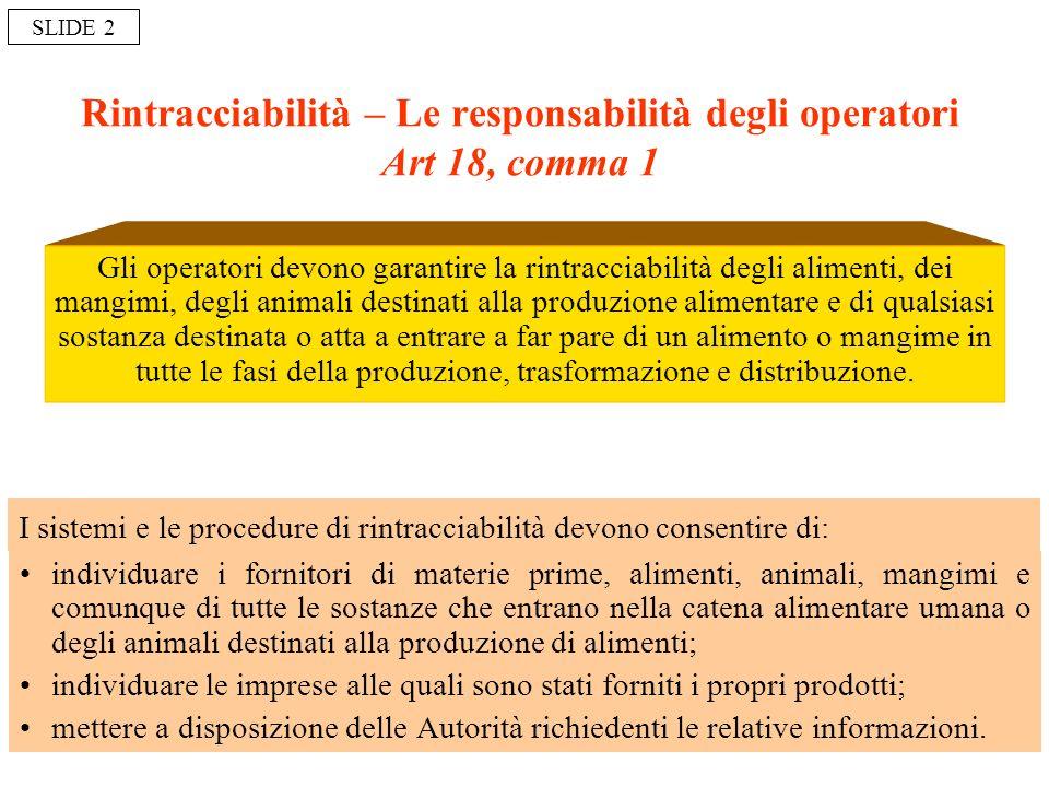 Rintracciabilità – Le responsabilità degli operatori Art 18, comma 1