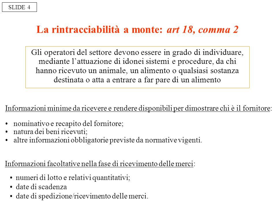 La rintracciabilità a monte: art 18, comma 2