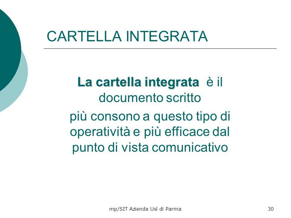 CARTELLA INTEGRATA La cartella integrata è il documento scritto