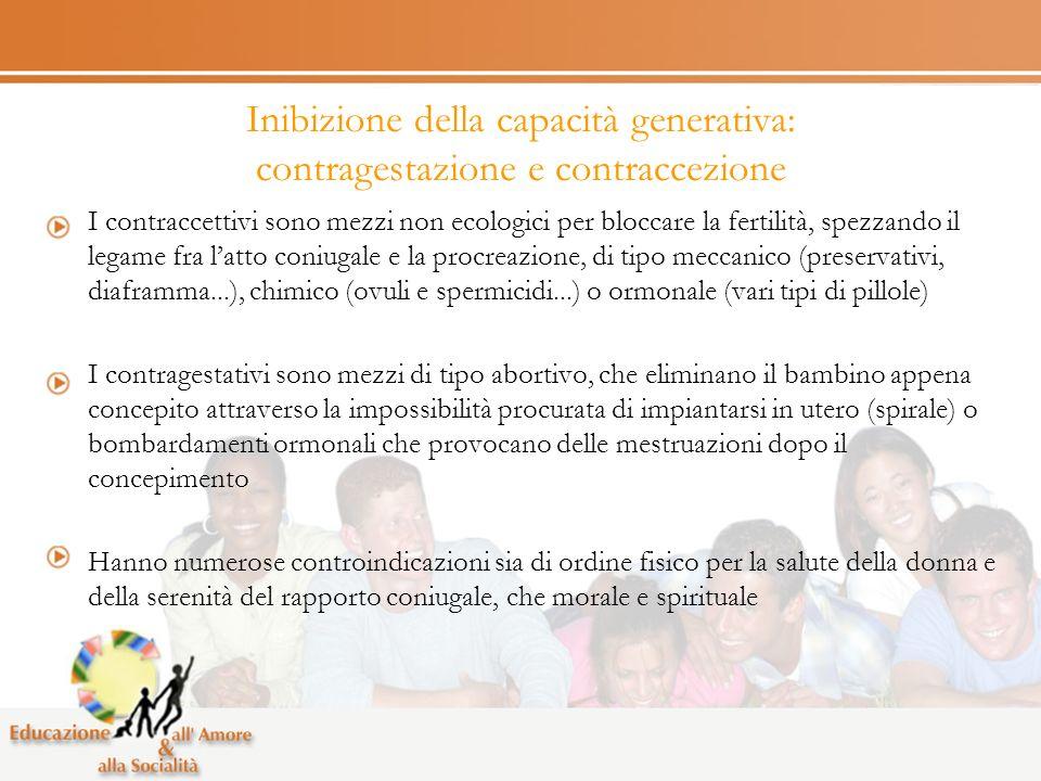 Inibizione della capacità generativa: contragestazione e contraccezione