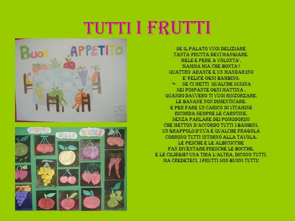 Tutti i frutti SE IL PALATO VUOI DELIZIARE TANTA FRUTTA DEVI MANGIARE.