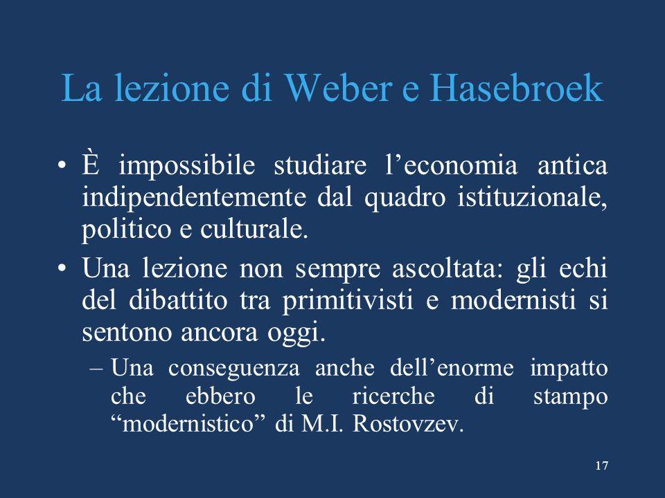 La lezione di Weber e Hasebroek