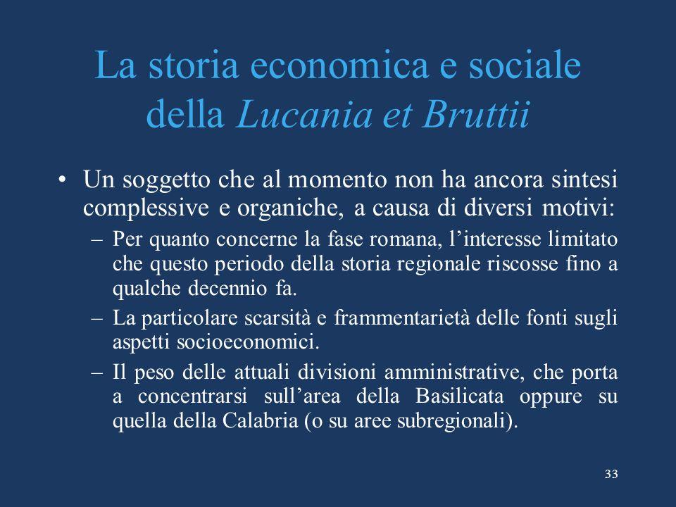 La storia economica e sociale della Lucania et Bruttii