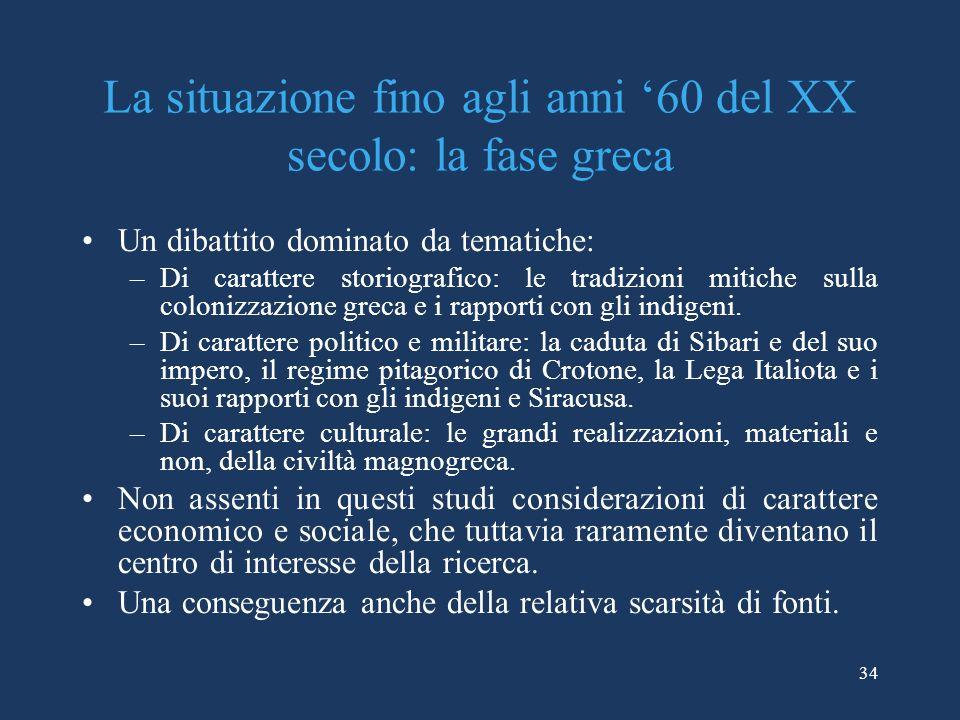 La situazione fino agli anni '60 del XX secolo: la fase greca