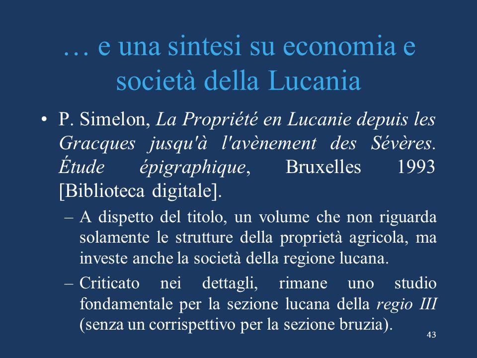 … e una sintesi su economia e società della Lucania