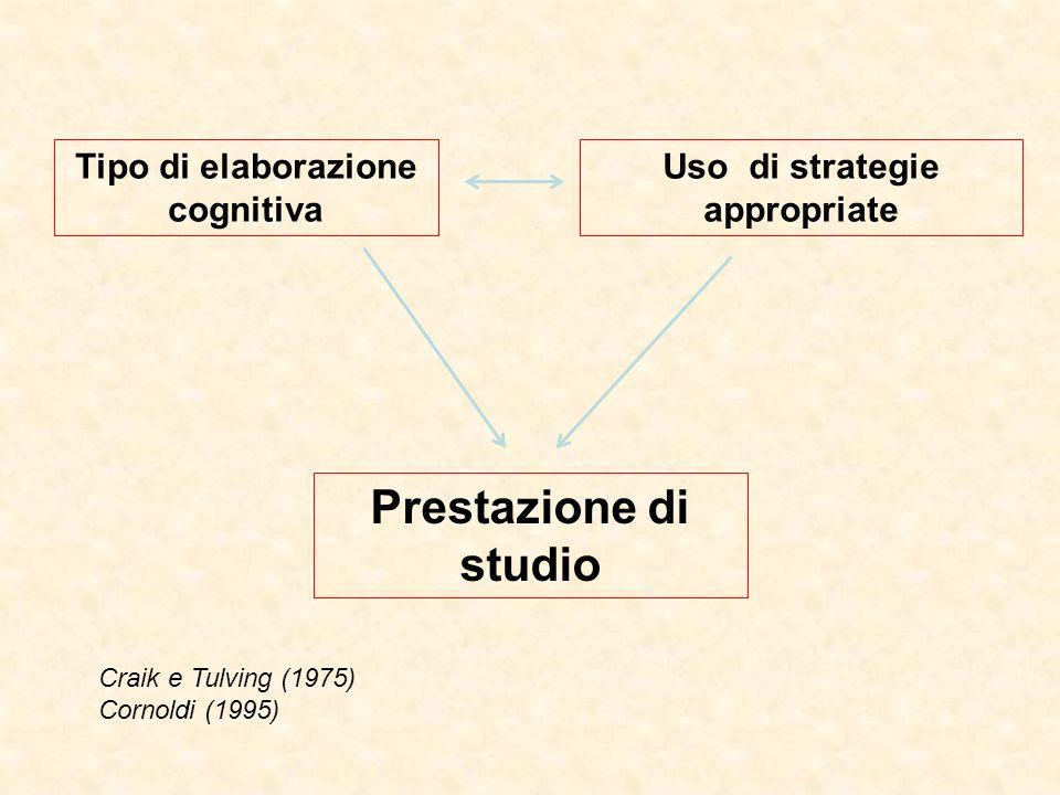Tipo di elaborazione cognitiva Uso di strategie appropriate