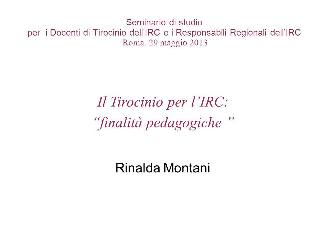Il Tirocinio per l'IRC: finalità pedagogiche