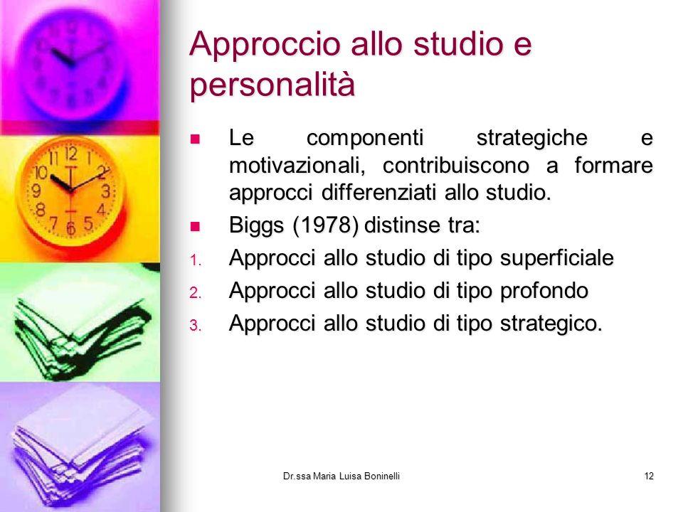 Approccio allo studio e personalità