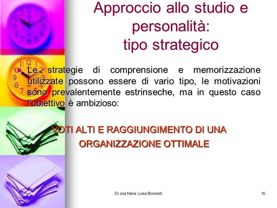 Approccio allo studio e personalità: tipo strategico