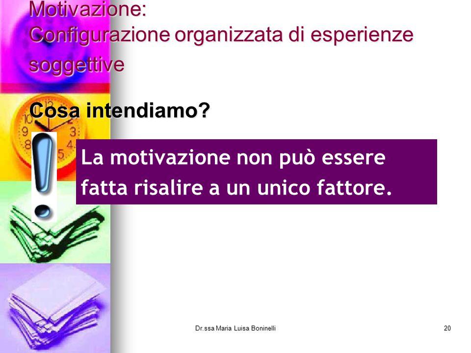 Motivazione: Configurazione organizzata di esperienze soggettive