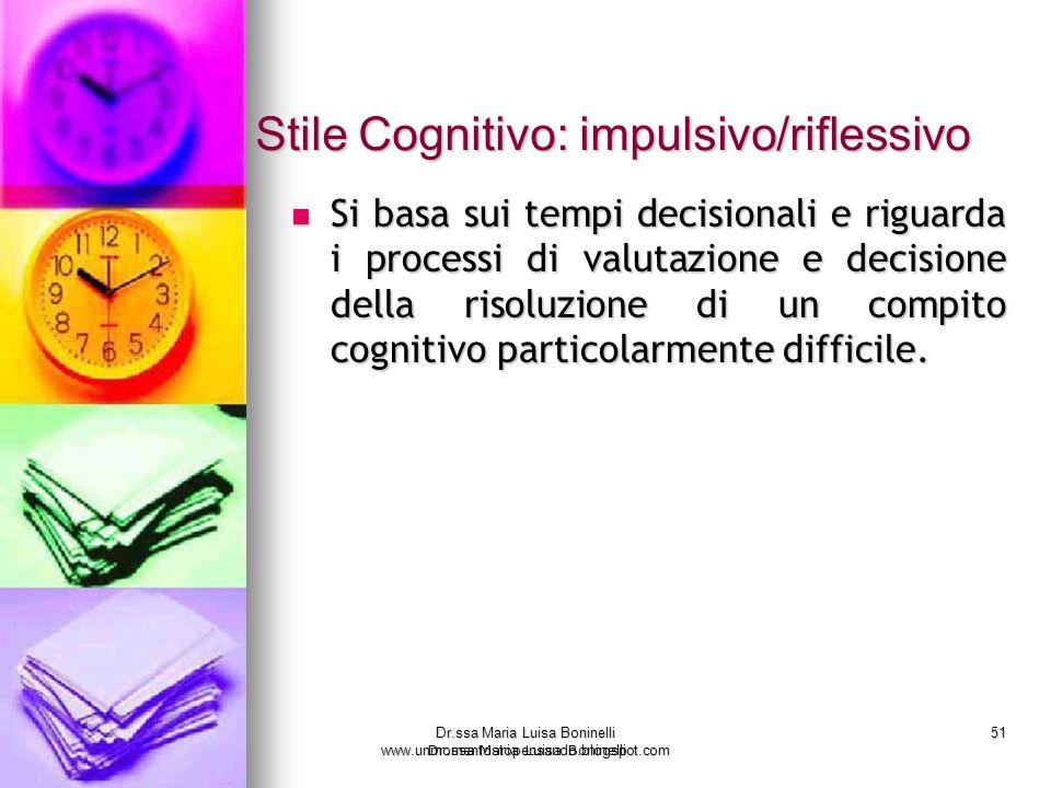 Stile Cognitivo: impulsivo/riflessivo