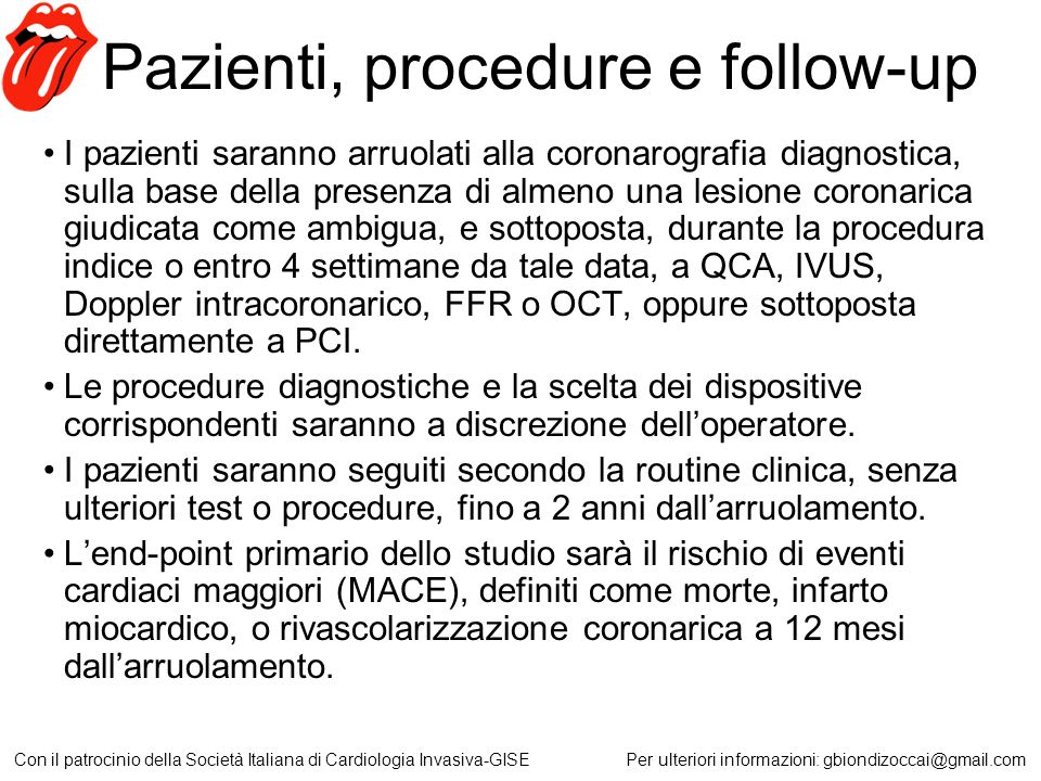 Pazienti, procedure e follow-up