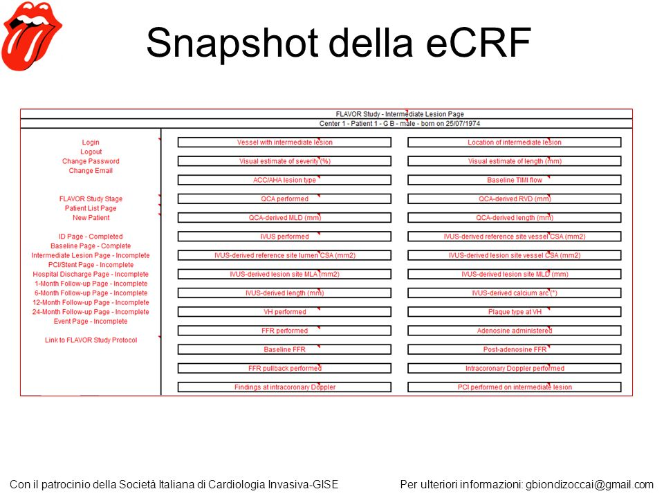 Snapshot della eCRF