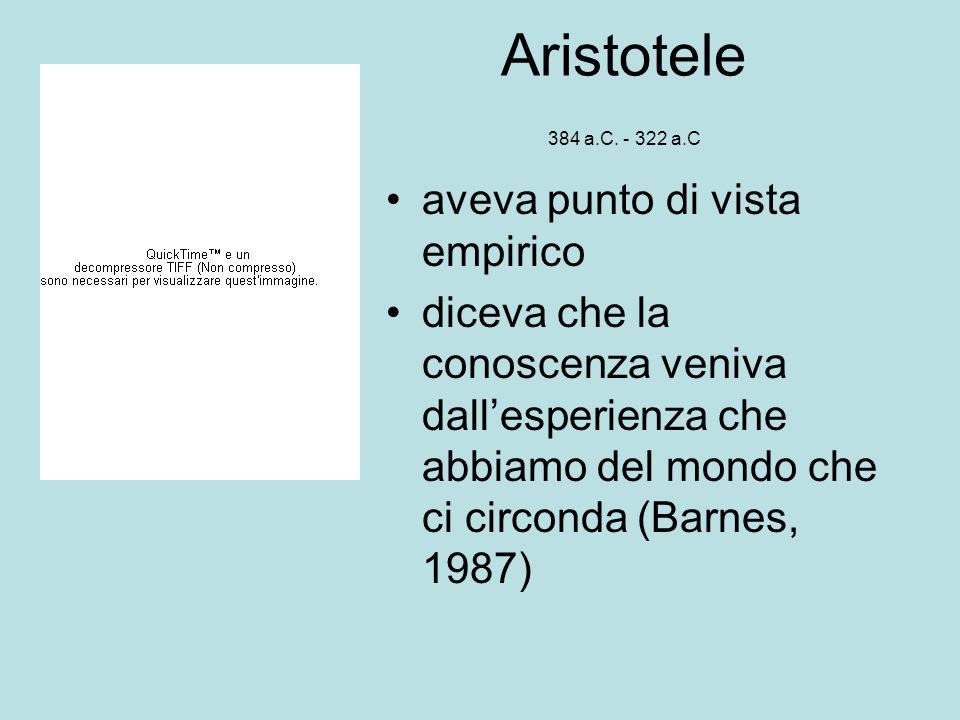Aristotele 384 a.C. - 322 a.C aveva punto di vista empirico