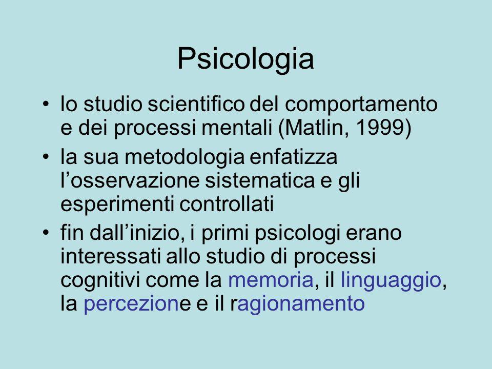 Psicologia lo studio scientifico del comportamento e dei processi mentali (Matlin, 1999)