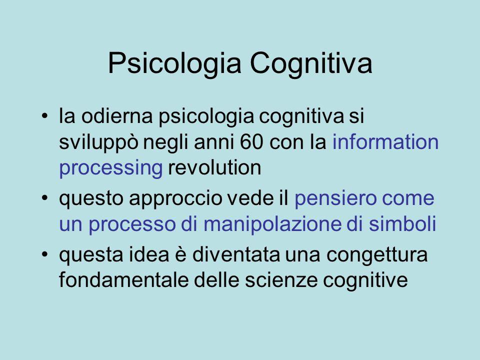 Psicologia Cognitiva la odierna psicologia cognitiva si sviluppò negli anni 60 con la information processing revolution.