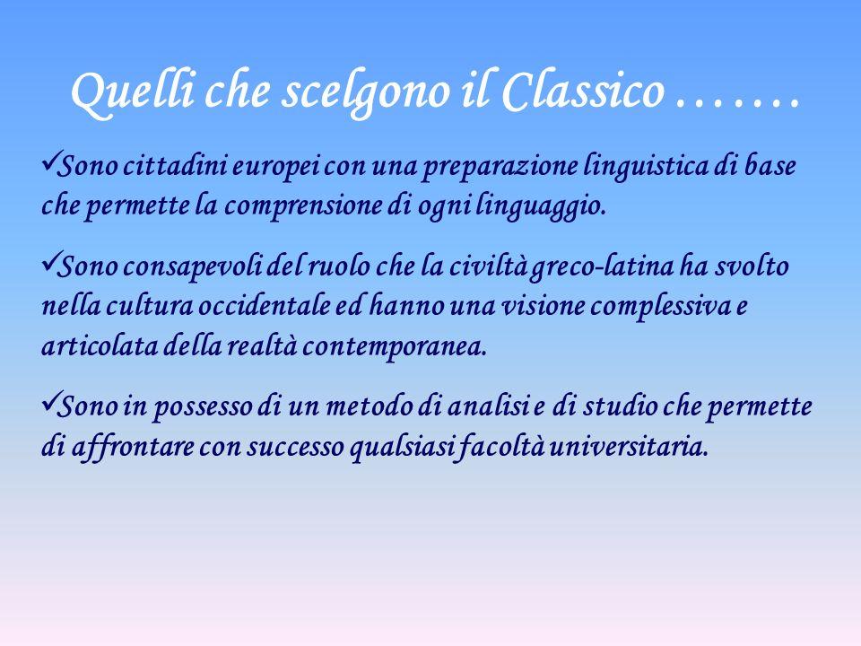 Quelli che scelgono il Classico …….