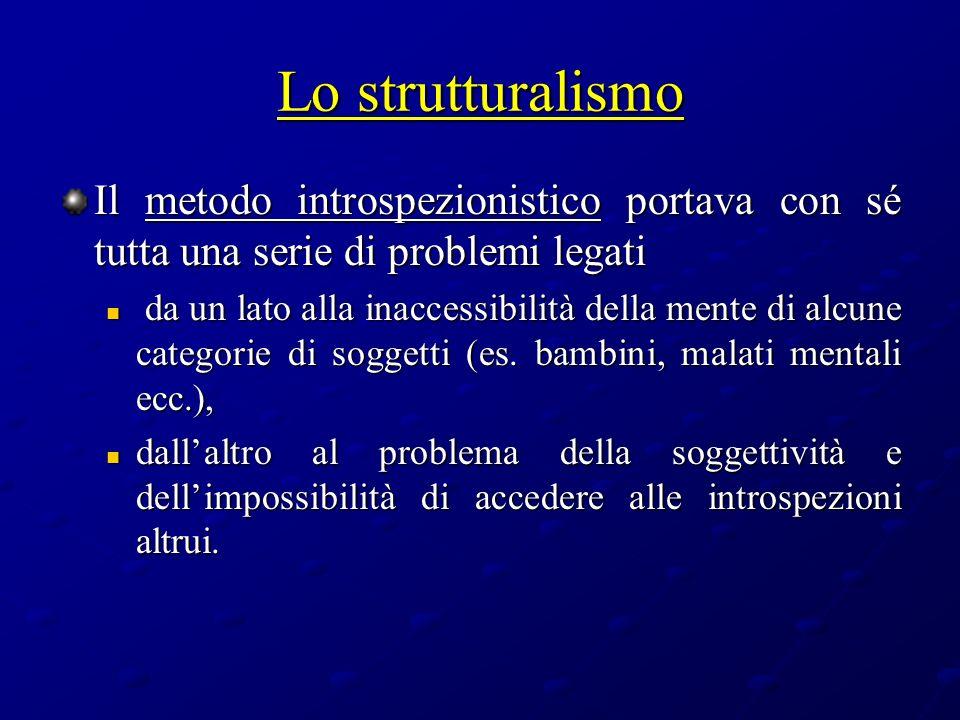 Lo strutturalismo Il metodo introspezionistico portava con sé tutta una serie di problemi legati.