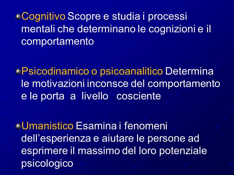 Cognitivo Scopre e studia i processi mentali che determinano le cognizioni e il comportamento