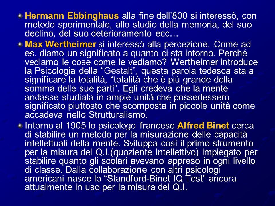 Hermann Ebbinghaus alla fine dell'800 si interessò, con metodo sperimentale, allo studio della memoria, del suo declino, del suo deterioramento ecc…