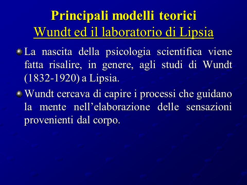 Principali modelli teorici Wundt ed il laboratorio di Lipsia