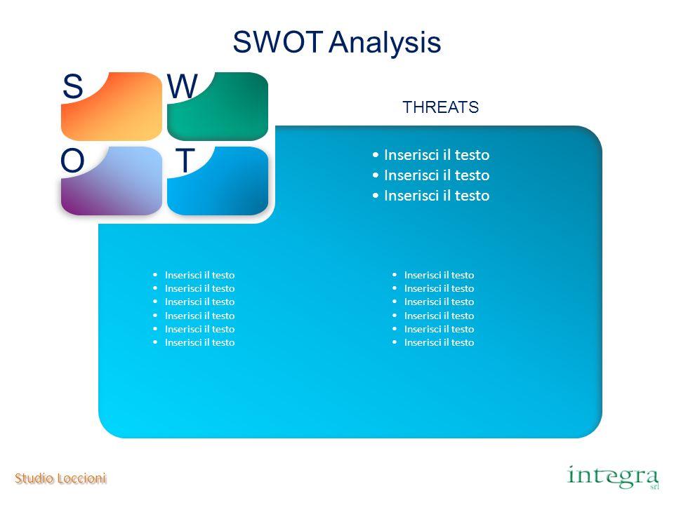 S W O T SWOT Analysis THREATS Inserisci il testo Studio Loccioni