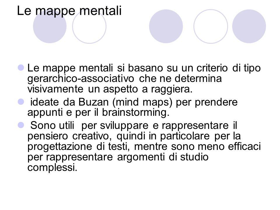 Le mappe mentali Le mappe mentali si basano su un criterio di tipo gerarchico-associativo che ne determina visivamente un aspetto a raggiera.