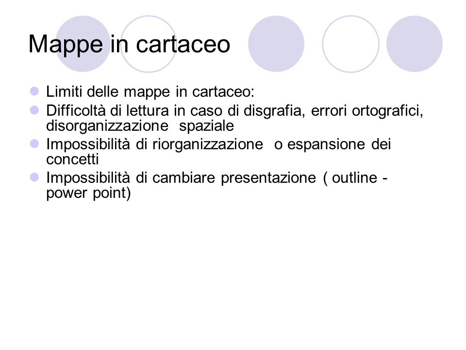 Mappe in cartaceo Limiti delle mappe in cartaceo: