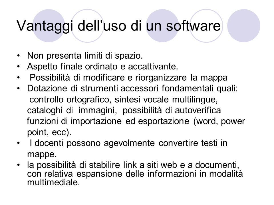 Vantaggi dell'uso di un software