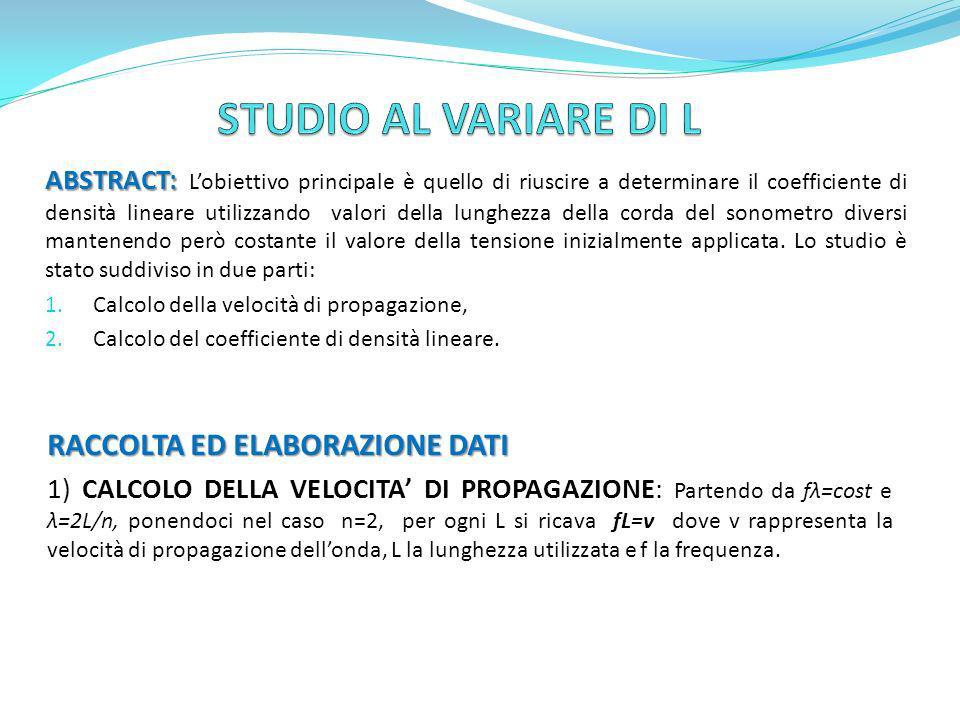 STUDIO AL VARIARE DI L RACCOLTA ED ELABORAZIONE DATI